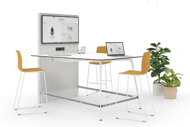 Mesa videoconferencia Twist y taburete Noom 50